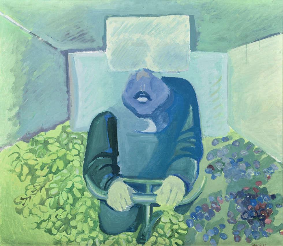 Maria Lassnig, Brettl vorm Kopf, 1967, Öl/Lw (Sammlung Klewan, © VG Bild-Kunst, Bonn, 2019_ Maria Lassnig Stiftung)