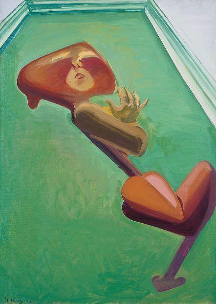 Maria Lassnig, Herzselbstportät im grünen Zimmer, 1968, Öl/Lw (Sammlung Klewan, © Maria Lassnig Foundation, VG Bild-Kunst Bonn 2019)