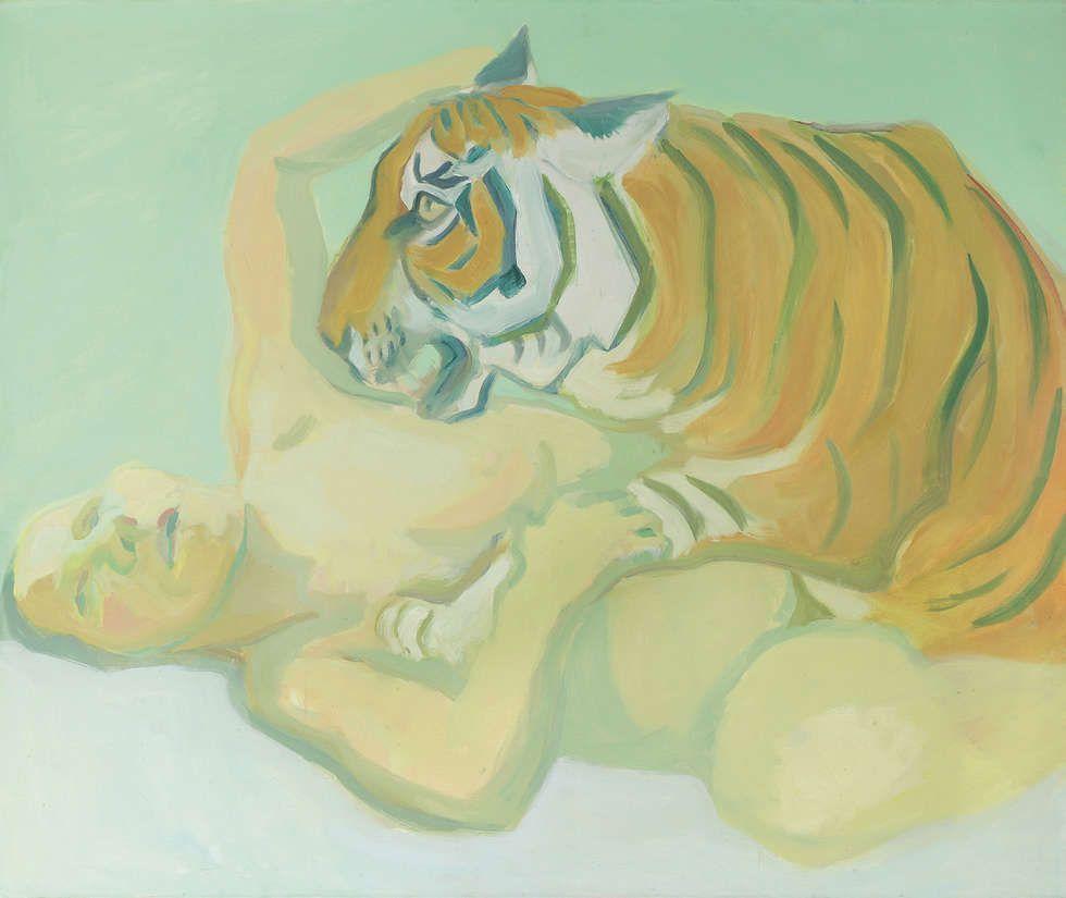 Maria Lassnig, Mit einem Tiger schlafen, 1975, Öl/Lw (Albertina, Wien – Dauerleihgabe der Österreichischen Nationalbank © Maria Lassnig Privatstiftung)
