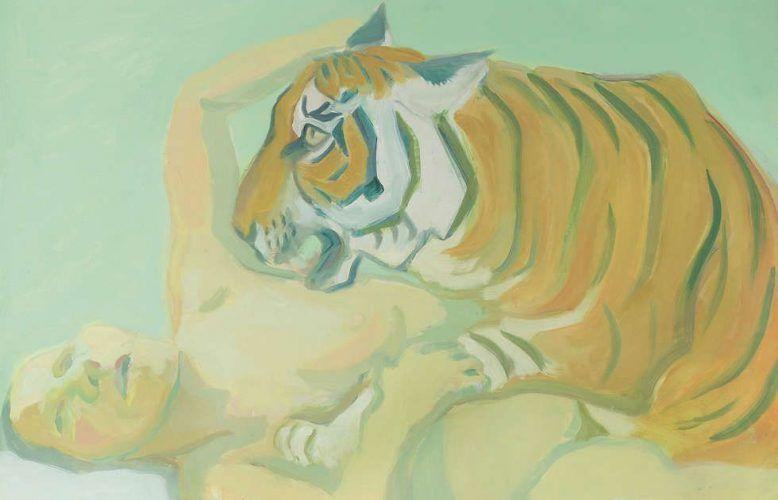 Maria Lassnig, Mit einem Tiger schlafen, Detail, 1975, Öl/Lw (Albertina, Wien – Dauerleihgabe der Österreichischen Nationalbank © Maria Lassnig Privatstiftung)