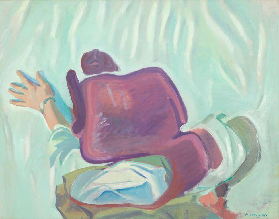 Maria Lassnig, Pfingstselbstporträt, 1969, Öl auf Leinwand, 117 x 147 x 4 cm (mumok Museum moderner Kunst Stiftung Ludwig Wien, erworben 1985, Foto: mumok © Maria Lassnig Privatstiftung 2018)