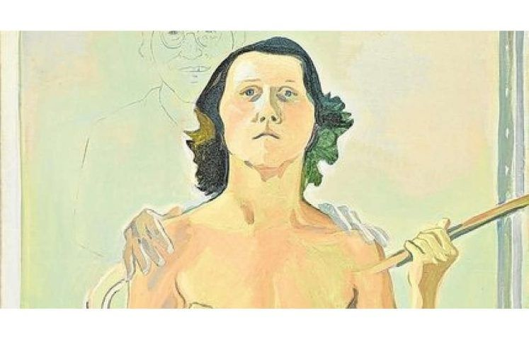 Maria Lassnig, Selbstporträt mit Stab, Detail, 1971, Öl und Kohle auf Leinwand, 193 x 129 cm (Maria Lassnig Stiftung, © Maria Lassnig Stiftung)