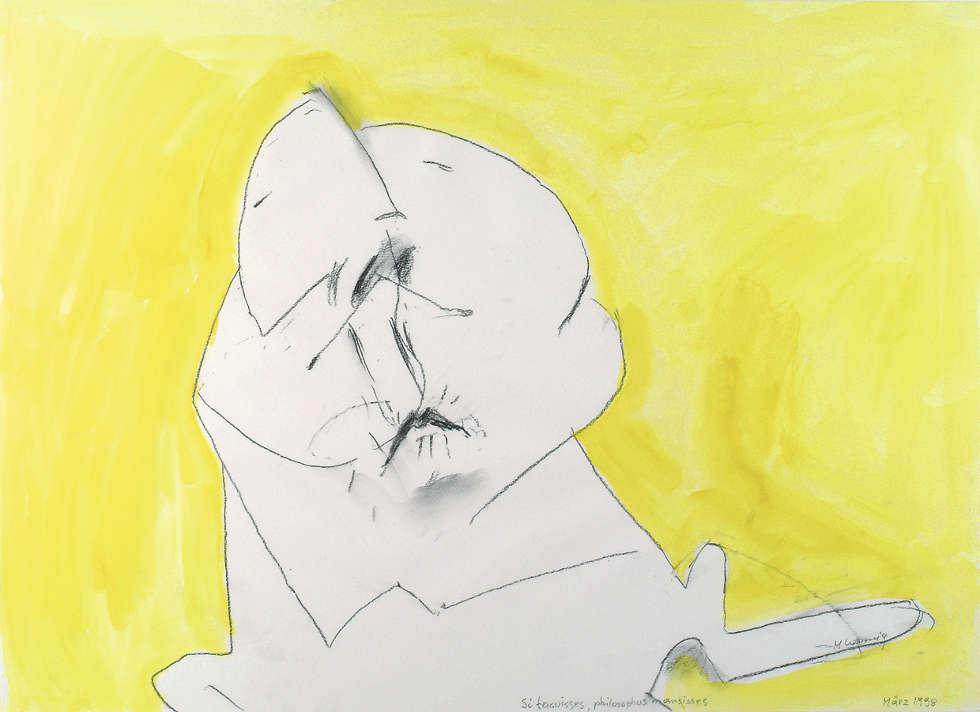 Maria Lassnig, Si tacuisses, 1998, Kohle und Aquarell, Sammlung Klewan, © Maria Lassnig Foundation_VG Bild-Kunst, Bonn 2019
