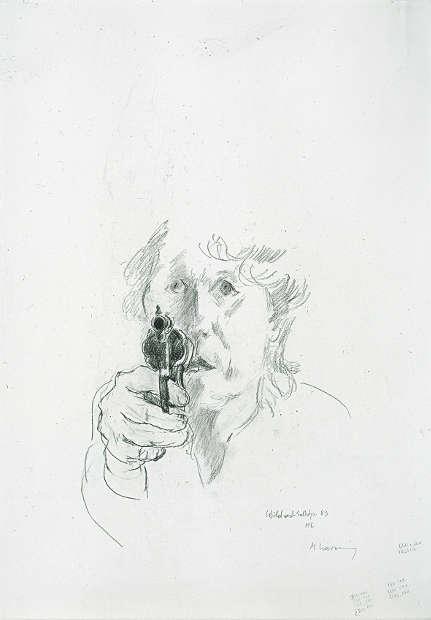 Maria Lassnig, Wildwestselbstporträt, 1983, Zeichnung (Sammlung Klewan, © VG Bild-Kunst, Bonn, 2019_ Maria Lassnig Stiftung)