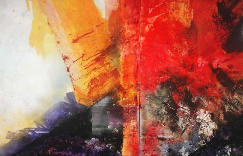 Maria Moser, Materie in spiritu, Detail, 2018/19, Öl/Lw, 390 x 390 cm, Foto: Alexandra Matzner | ARTinWORDS
