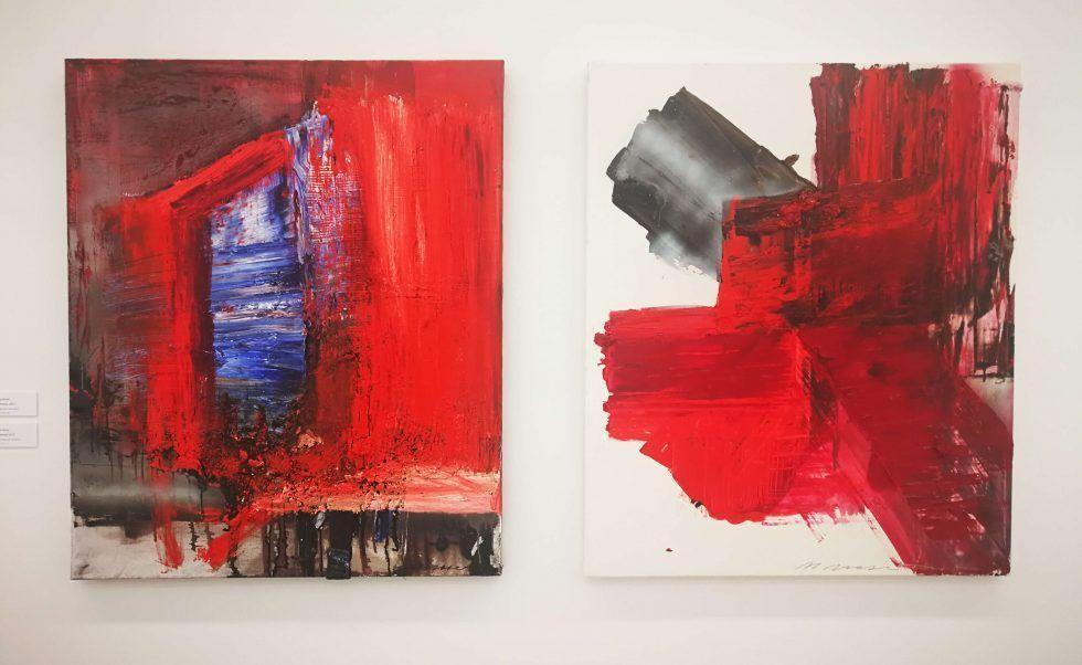 Maria Moser, Zeitfenster, 2010, Öl/Lw, 120 x 100 cm (Sammlung Angerlehner), über Kreuz, 2007, Öl/Lw, 120 x 100 cm (Sammlung Angerlehner)