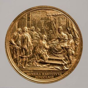 Franz Würth, Maria Theresia, Medaille auf die Wiederherstellung der Hofämter in Siebenbürgen, Revers, Wien 1762, Gold (Wien, Kunsthistorisches Museum, Münzkabinett Inv.-Nr. 1862bβ © KHM-Museumsverband)