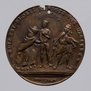 Maria Theresia, Satirische Medaille, Avers, 1744, Buntmetall (Wien, Kunsthistorisches Museum, Münzkabinett Inv.-Nr. 128543 © KHM-Museumsverband)
