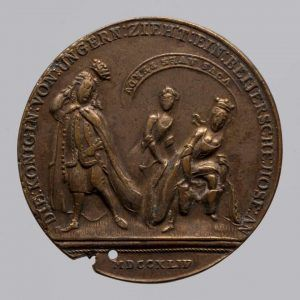 Maria Theresia Satirische Medaille, Revers, 1744, Buntmetall (Wien, Kunsthistorisches Museum, Münzkabinett Inv.-Nr. 128543 © KHM-Museumsverband)