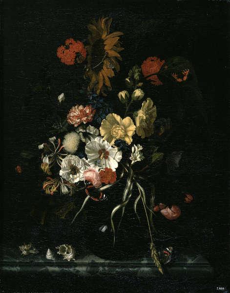 Maria van Oosterwijck, Blumen und Muscheln, um 1685, Öl auf Leinwand, 72 x 56 cm (Gemäldegalerie Alte Meister, Dresden, Gal.-Nr. 1334)