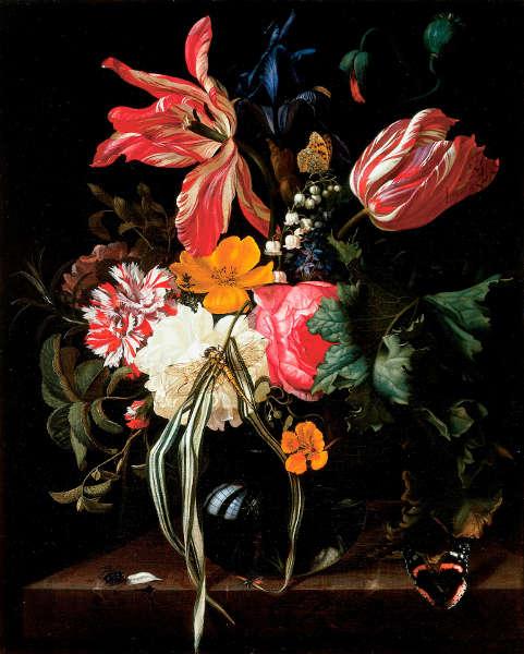 Maria van Oosterwijck, Blumenstillleben, 1669, Öl auf Leinwand, 46 x 37.1cm (Cincinnati Art Museum, Bequest of Mrs. L.W. Scott Alter, Inv.-Nr. 1988.150)