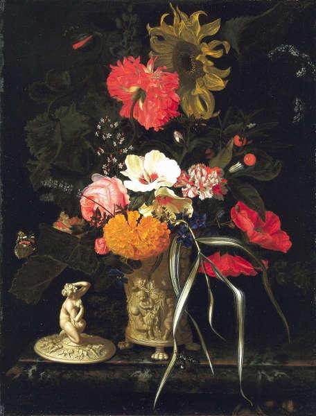 Maria van Oosterwick, Blumen in einer dekorativen Vase, um 1670–um 1675, Öl auf Leinwand, 62 x 47,5 cm (Mauritshuis, Den Haag, Inv.-Nr. 468)