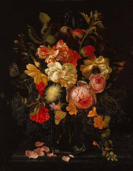 Maria van Oosterwijck, Stillleben mit Blumen und Schmetterlingen, sign. und dat. 1686, Öl auf Holz, 47.4 x 36.95 cm (Royal Collection, Kensington Palace, Queen's Dining Room, RCIN 405626)