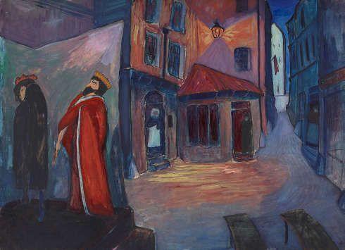 Marianne von Werefkin, In die Nacht hinein, 1910, Tempera, Mischtechnik auf Papier und Karton, 74 x 101 cm (Städtische Galerie im Lenbachhaus und Kunstbau München, Foto: Lenbachhaus)