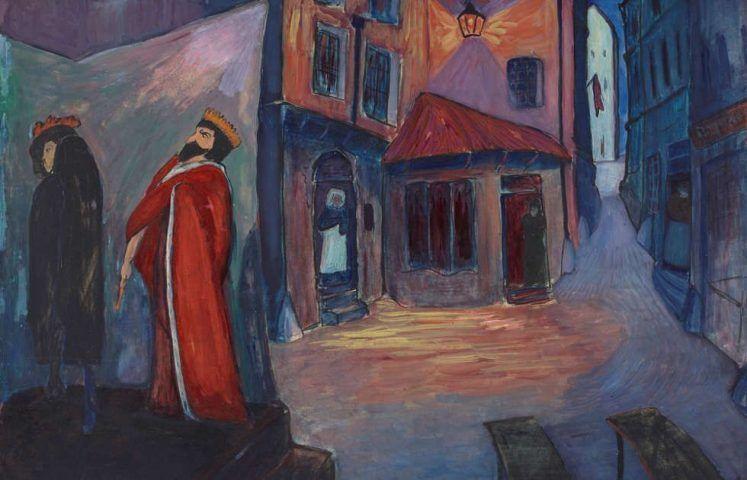 Marianne von Werefkin, In die Nacht hinein, Detail, 1910, Tempera, Mischtechnik auf Papier und Karton, 74 x 101 cm (Städtische Galerie im Lenbachhaus und Kunstbau München, Foto: Lenbachhaus)
