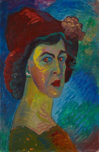 Marianne von Werefkin, Selbstbildnis, 1910, Tempera auf Papier auf Karton, 51 x 34 cm (Städtische Galerie im Lenbachhaus und Kunstbau München, Foto: Lenbachhaus)