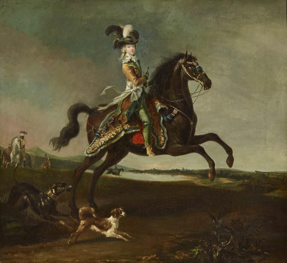 Louis-Auguste Brun, Marie Antoinette in Männerkleidung zu Pferd, um 1783/85, Öl auf Leinwand, 60 x 66 cm (Paris, Musée national des châteaux de Versailles et de Trianon, Inv.-Nr. MV 571899