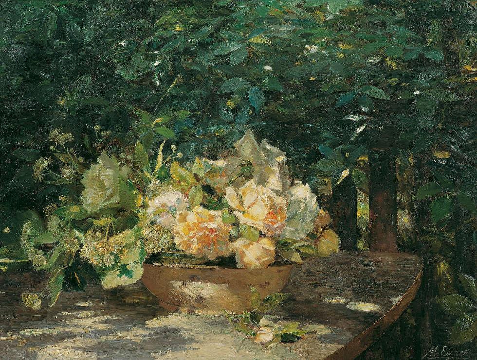 Marie Egner, In der Laube, um 1901, Öl auf Karton, 50,5 × 66 cm (Belvedere, Wien)