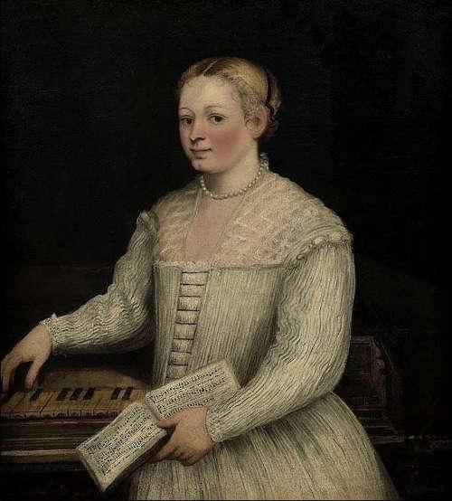 Marietta Robusti, genannt La Tintoretta, Selbstporträt am Spinett, um 1580 (Uffizien)
