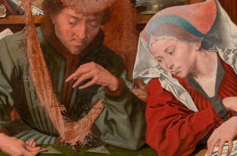 Marinus van Reymerswaele, Geldwechsler und seine Frau, Detail (Prado)