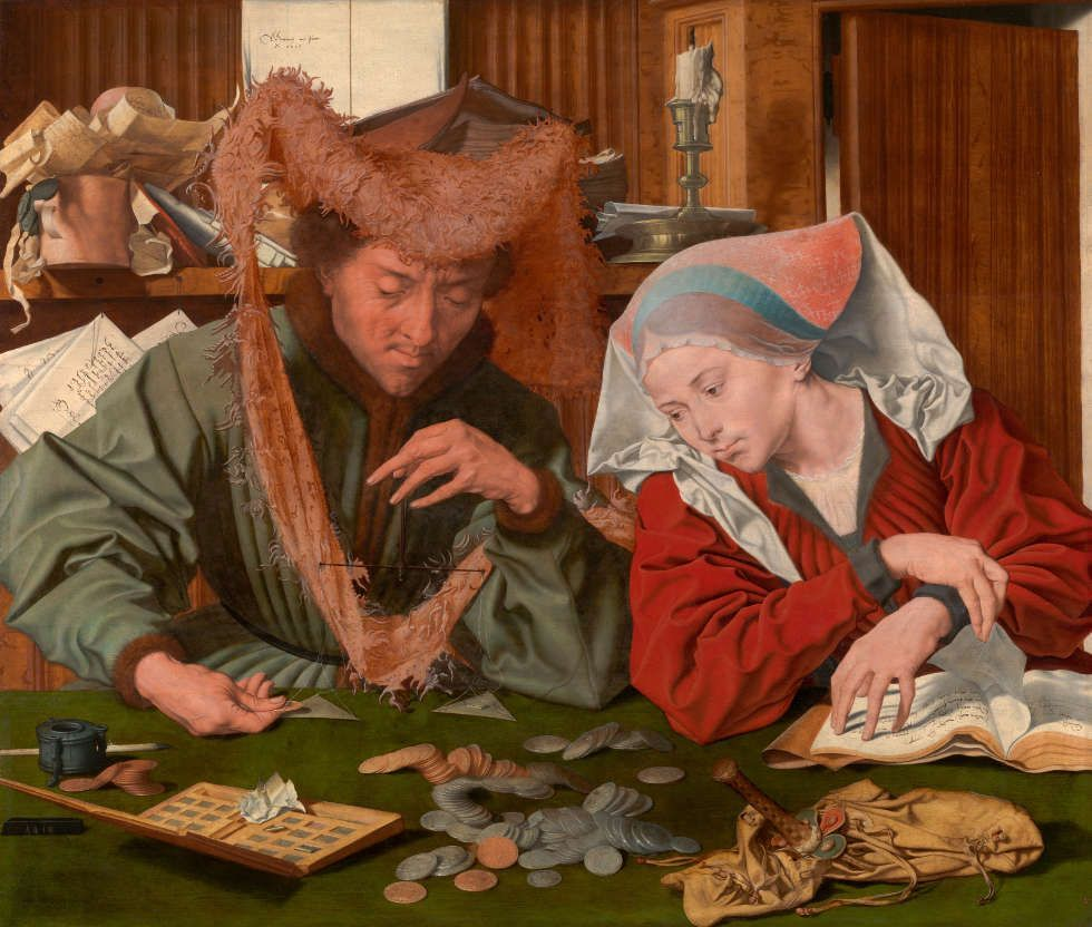 Marinus van Reymerswaele, Der Geldwechsler und seine Frau, 1539, Öl/Holz, 83 x 97 cm (Madrid, Museo Nacional del Prado)