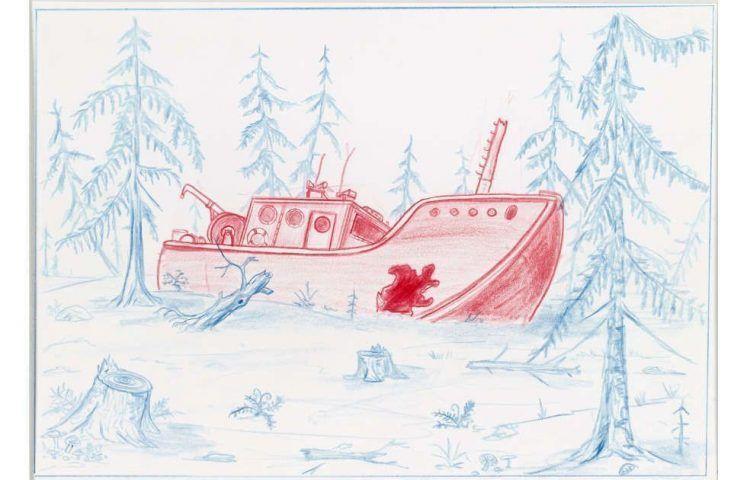Mark Dion, The Shipwreck, 2001, Buntstift auf Papier, 27,5 x 34,8 cm (Schenkung der Sammlung Florence und Daniel Guerlain, 2012 | Centre Pompidou – Musée National d'Art Moderne, Paris)