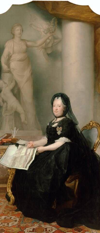Maron, Maria Theresia als Witwe mit der Statue des Friedens