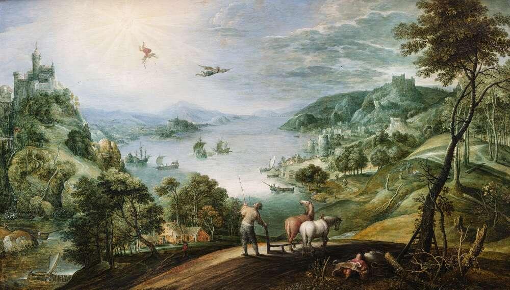 Marten Rijckaert, Landschaft mit dem Sturz des Ikarus, um 1620–1630, Öl auf Eichenholz (Privatsammlung, WRM Dep. 840)