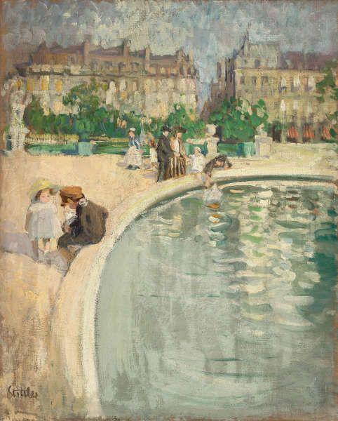 Martha Stettler, Aux tuileries, um 1910, Öl/Lw, 81 x 64,5 cm (Anne-Catherine Krüger, Gockhausen Anne-Catherine Krüger und Werner Zell, Gockhausen)