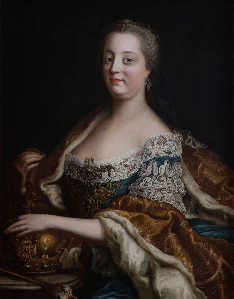 Martin van Meytens-Werkstatt, Maria Theresia, Detail, nach 1745, Öl auf Leinwand (Stift Klosterneuburg, Fotograf: Michael Himml)
