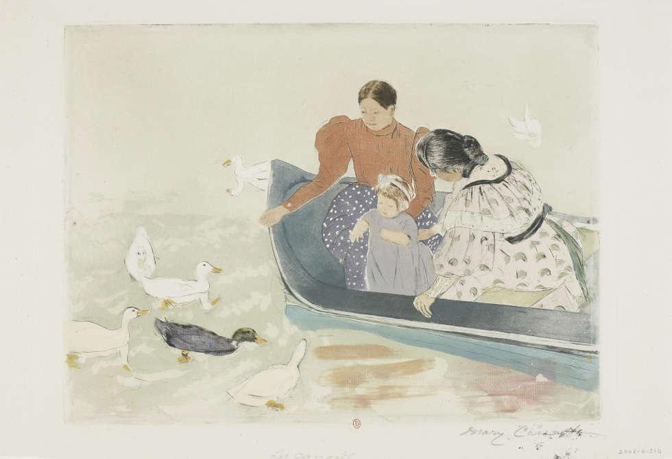 Mary Cassatt, Enten Füttern, 1895, Kaltnadel, Weichgrundradierung und Aquatinta (© Bibliothèque de l'Institut national d'histoire de l'art)