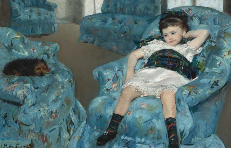 Mary Cassatt, Kleines Mädchen in einem blauen Armsessel, Detail, 1878, Öl/Lw (National Gallery of Art, Washington, Collection of Mr. And Mrs. Paul Mellon, 1983.1.18 © Courtesy National Gallery of Art, Washington)