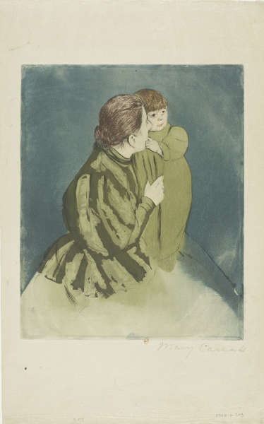 Mary Cassatt, Mutter und Kind (Günes Kleid), um 1894, Aquatinta, Kaltnadel und Farb-Aquatinta, M CASSATT 12 © Bibliothèque de l'Institut national d'histoire de l'art)