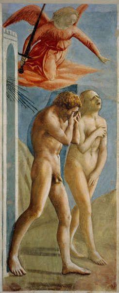 Masaccio, Vertreibung aus dem Paradies, 1427-28, Fresko, 208 x 88 cm (Florenz, Santa Maria del Carmine, Cappella Brancacci)