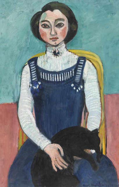 Henri Matisse, Mädchen mit einer schwarzen Katze, 1910, Öl/Lw, 94 x 64 cm (Privatsammlung)