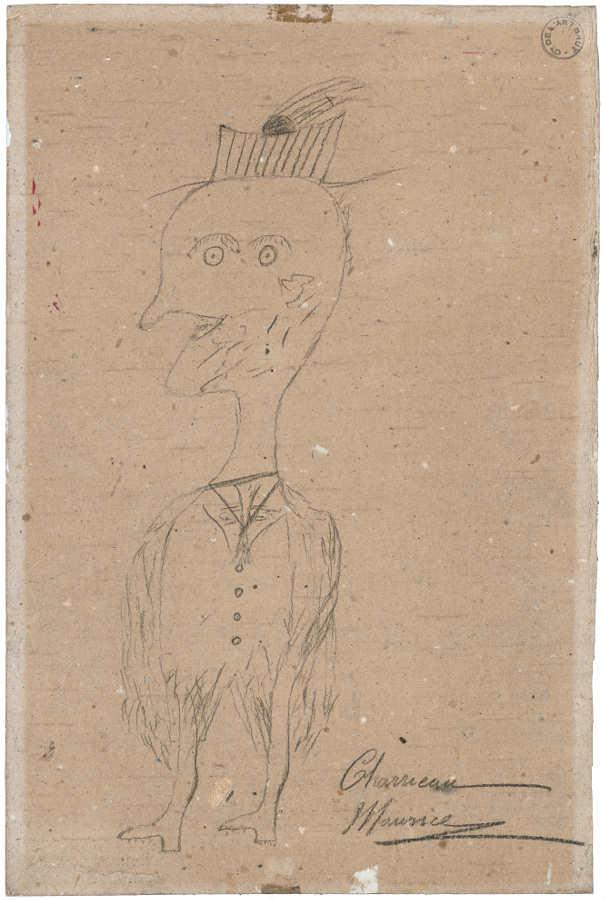 Maurice Charrieau, Märchenfigur, undatiert, Bleistift auf Karton (Collection de l'Art Brut, Lausanne)