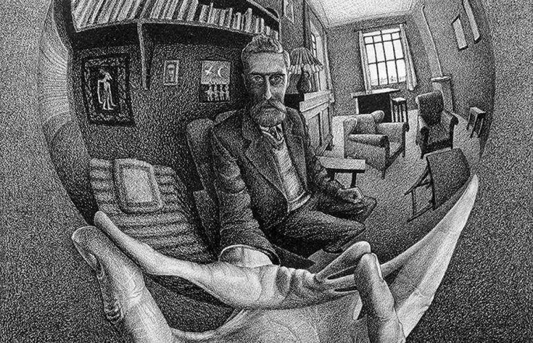 Maurits Cornelis Escher, Hand mit reflektierender Kugel, Detail, 1935, Lithografie, 31,1x21,3 cm (Niederlande, Escher Foundation Collection, alle M.C. Escher Werke © 2021 The M.C. Escher Company The Netherlands. Alle Rechte vorbehalten, www.mcescher.com)