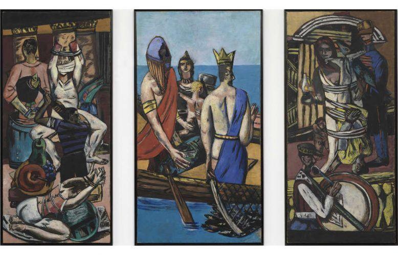 Max Beckmann, Departure, 1932–1935, Öl auf Leinwand, Triptychon, Mittelbild 215,3 x 115,2 cm, Seitenbilder 215,3 x 99,7 cm (Museum of Modern Art, New York © 2021 Artists Rights Society (ARS), New York)