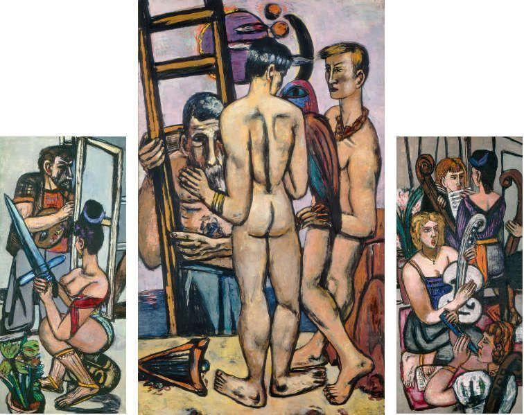 Max Beckmann, Triptychon: Die Argonauten, 1949/50, Öl/Lw, 184,1 x 85,1 cm ()links), 205,8 x 122 cm (Mitte), 185,4 x 85 cm (rechts) (National Gallery of Art, Washington D. C. Donation of Mrs. Max Beckmann)
