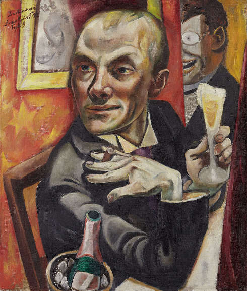 Max Beckmann, Selbstbildnis mit Sektglas, 1919, Öl auf Leinwand, 65,0 × 55,5 cm (Städel Museum, Frankfurt am Main, Seit 2011 Dauerleihgabe aus Privatbesitz © VG Bild-Kunst, Bonn 2020)