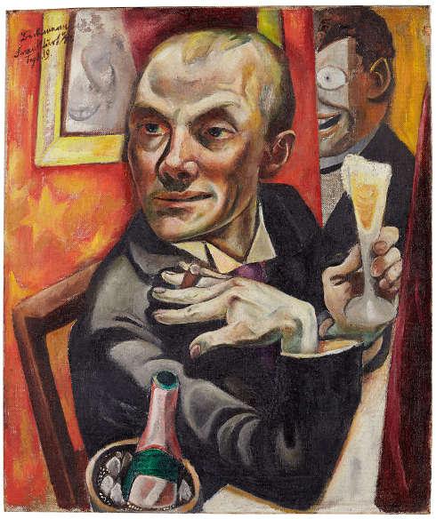Max Beckmann, Selbstporträt mit Champagnerglas, 1919, Öl/Lw, 65 x 55,5 cm (Dauerleihgabe, Städel Museum, Frankfurt a. M.)