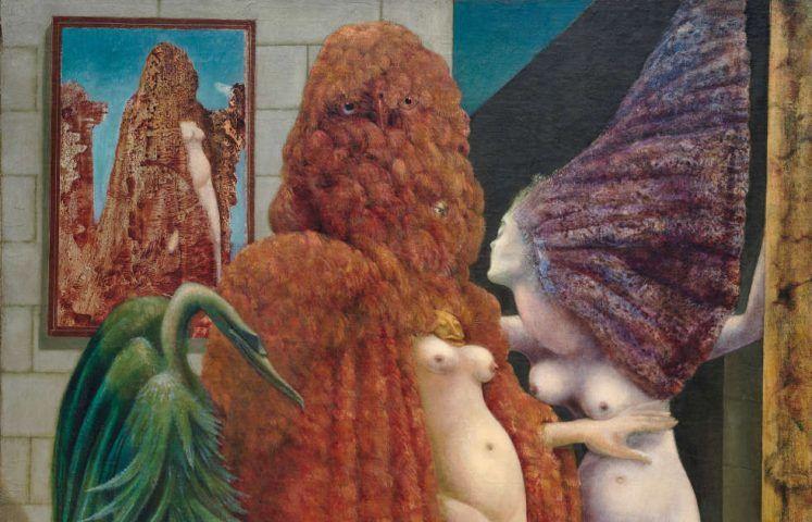 Max Ernst: Die Einkleidung der Braut, Detail, 1940 (Peggy Guggenheim Collection, Venedig (Solomon R. Guggenheim Foundation, New York), 76.2553 PG 78, Foto: David Heald © Solomon R. Guggenheim Foundation, New York / VG Bild-Kunst, Bonn 2020)