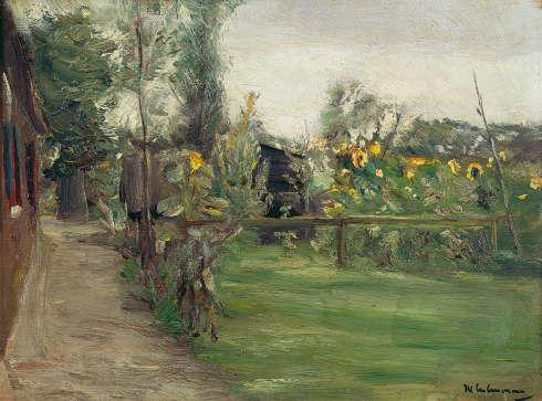 Max Liebermann, Garten mit blühenden Sonnenblumen, 1895 (Kulturstiftung Kurt und Barbara Alten)