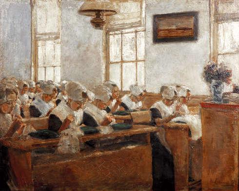 Max Liebermann, Nähschule - Arbeitssaal im Amsterdamer Waisenhaus, 2. Fassung, 1876/77, Öl-Mahagoni (© Von der Heydt-Museum Wuppertal)