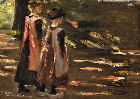 Max Liebermann, Zwei gehende Mädchen, Studie zum Schulgang in Laren, 1897, Öl-Papier (Privatsammlung © Kunsthaus Lempertz, Foto Sascha Fuis)