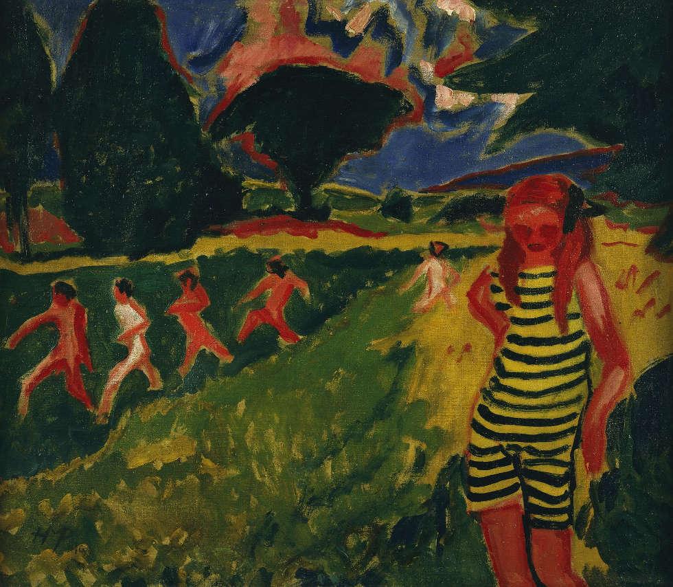 Max Pechstein, Das gelbschwarze Trikot, 1910, Öl/Lw, 68 x 78 cm (© Pechstein – Hamburg / Tökendorf, Brücke-Museum Berlin, Dauerleihgabe aus Privatbesitz, Foto: Roman März)