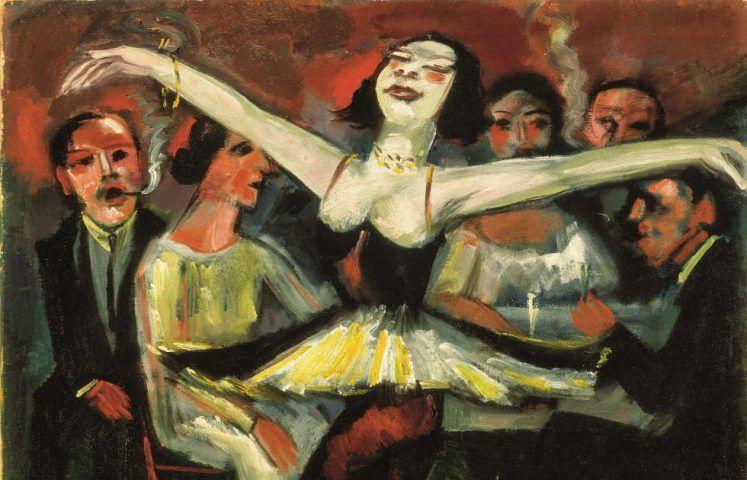 Max Pechstein, Tänzerin in einer Bar, 1923/31, Detail, Öl auf Leinwand, 90 x 90,5 cm (Privatbesitz © 2019 Pechstein – Hamburg/Tökendorf)
