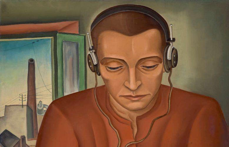 Max Radler, Der Radiohörer, Detail, 1930 dat., 63 cm x 49 cm (Städtische Galerie im Lenbachhaus und Kunstbau München, © Max Radler bzw. Rechtsnachfolge)