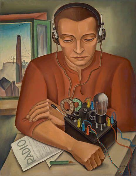 Max Radler, Der Radiohörer, 1930 dat., 63 cm x 49 cm (Städtische Galerie im Lenbachhaus und Kunstbau München, © Max Radler bzw. Rechtsnachfolge)