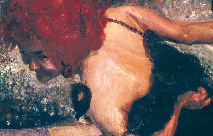 Max Slevogt, Totentanz/Maskenball, Detail, 1896, Öl auf Leinwand, 102 x 123 cm (Museum Georg Schäfer, Inv. Nr. MGS 4306 © Museum Georg Schäfer, Schweinfurt)